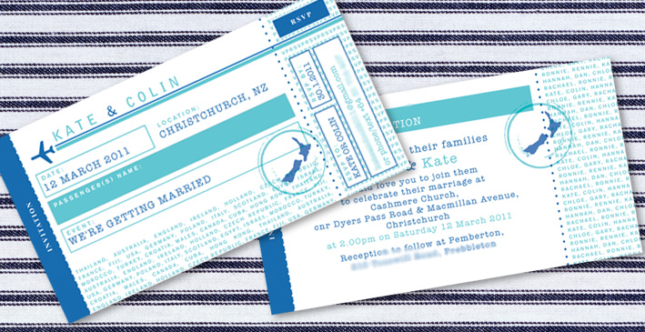 Kate & Colin's Airline Ticket Wedding Invitation