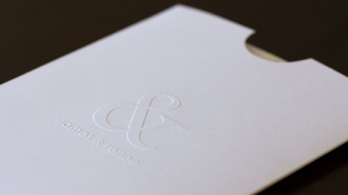 Jame's And Renee's Blind Embossed Wedding Invitation