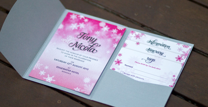 Nicola & Tony's Winter Pocket Fold Invitations